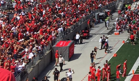 Ohio State's medical tent placed behind OSU's bench during football games. Credit: Kevin Harrish | For The Lantern