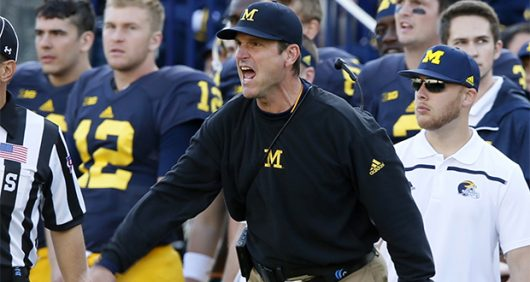 Michigan head coach Jim Harbaugh complains tabout a penalty call in the first half against Northwestern on Saturday, Oct. 10, 2015, at Michigan Stadium in Ann Arbor, Mich. The host Wolverines won, 38-0. (Julian H. Gonzalez/Detroit Free Press/TNS)