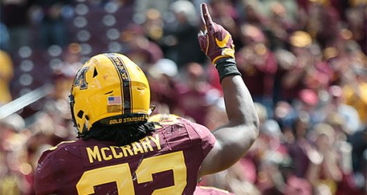 Minnesota junior running back Kobe McCrary (22) celebrates after his 50-yard touchdown run in the fourth quarter against Indiana State at TCF Bank Stadium on, Sept. 10. Courtesy of TNS