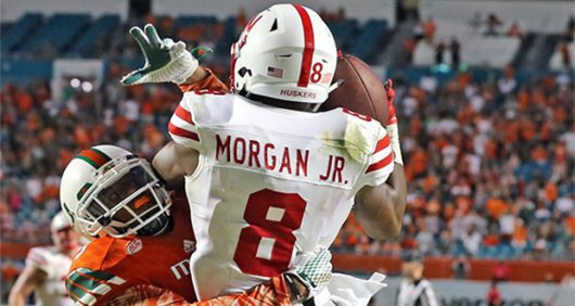 Nebraska then freshman wide receiver Stanley Morgan Jr. attempts a touchdown catch in the fourth quarter at Sun Life Stadium in Miami Gardens, Florida on Sept. 19, 2015. Courtesy of TNS
