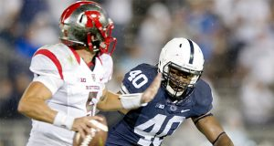 Penn State linebacker Jason Cabinda (40) pressures Rutgers quarterback Chris Laviano on Saturday, Sept. 19, 2015, at Beaver Stadium in University Park, Pa. Penn State won, 28-3. (Abby Drey/Centre Daily Times/TNS)