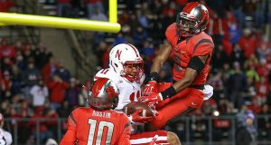 Nebraska Cornhuskers tight end CETHAN CARTER (11) holds on for a touchdown in the end zone during the 3rd quarter of an NCAA football game against the Rutgers Scarlet Knights at High Point Solutions Stadium. (Credit Image: © Mike Langish/CSM via ZUMA Wire)