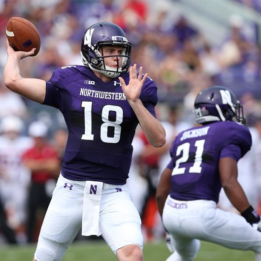 Northwestern then-redshirt freshman quarterback Clayton Thorson (18) throws a pass in the first half of a game against Stanford at Ryan Field on Saturday, Sept. 5, 2015 in Evanston, Ill. Northwestern won 16-6. Courtesy of TNS