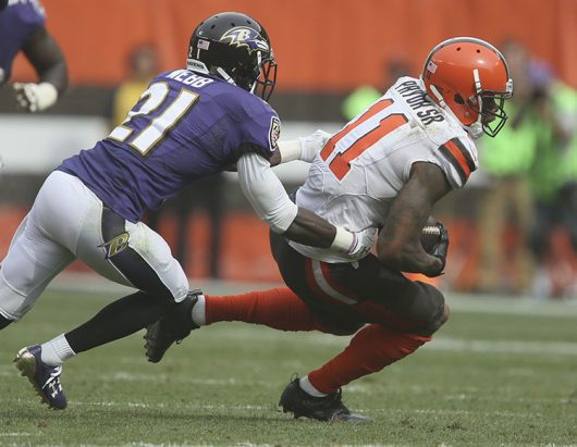 Cleveland Browns wide receiver Terrelle Pryor catches a pass under pressure from Baltimore Ravens Lardarius Webb in the fourth quarter on Sunday, Sept. 18, 2016 at FirstEnergy Stadium in Cleveland, Ohio. Credit: Courtesy TNS