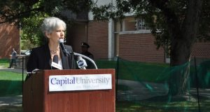 Green Party presidential candidate Jill Stein speaks at Capital University during a campaign stop on Sept. 2. Credit: Nick Roll | Campus Editor