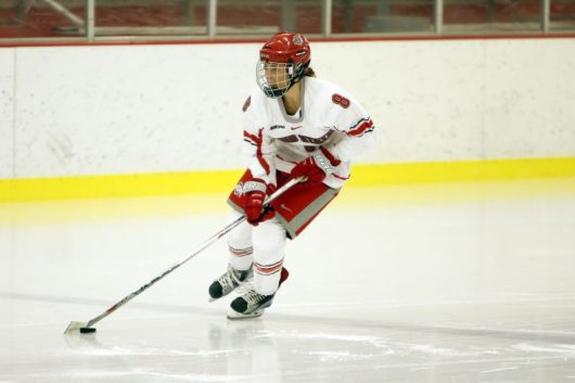 Junior forward Dani Sadek carves through the ice with the puck vs Penn State on Sunday, Jan. 3, 2016, in Columbus, Ohio. Credit: Courtesy OSU Athletics