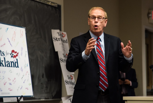 Former Ohio Gov. Ted Strickland speaks to Ohio State's chapter of College Democrats during a senatorial campaign stop on Sept. 1. Credit: Sam Harris | Assistant Campus Editor
