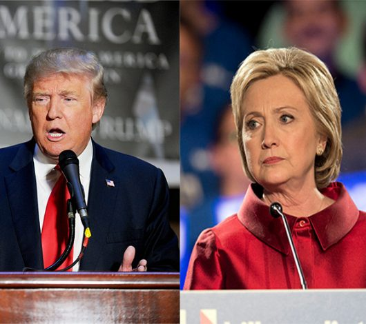 Republican Candidate Donald Trump & Democratic Candidate Hillary Clinton addressing their supporters at each of their rallies. Credit: Lantern File Photo