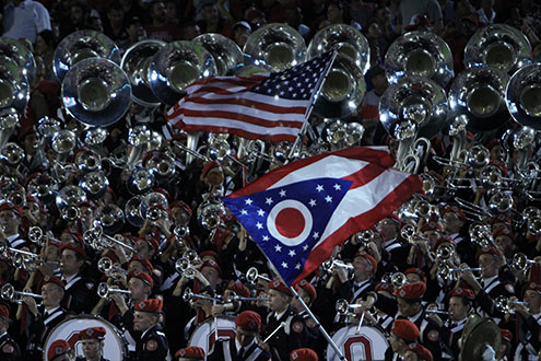 The Ohio State University Marching Band performs during a game against Oklahoma in Norman, Oklahoma. OSU won 45-24. Credit: Alexa Mavrogianis | Photo Editor