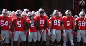 Buckeye football players waiting to run out of the tunnel and onto the field before the first game of the 2016 season against Bowling Green on Sept. 3 at Ohio Stadium. The Buckeyes won 77-10. Credit: Mason Swires | Assistant Photo Editor