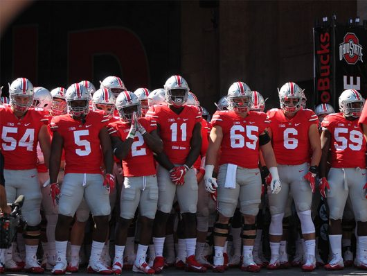 Buckeye football players waiting to run out of the tunnel and onto the field before the first game of the 2016 season against Bowling Green on Sept. 3 at Ohio Stadium. The Buckeyes won 77-10. Credit: Mason Swires   Assistant Photo Editor