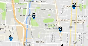 A map displaying the locations of recent crimes on and around campus.  Illustration by Mitch Hooper | Engagement Editor