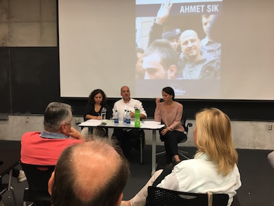 Ahmet Sik speaks to students and faculty on Sept. 28. Credit: Ian Doherty | For The Lantern