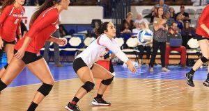 Ohio State's libero Valeria Leon passes a ball in the regional quarterfinal versus Washington on December 11, 2015. Credit: Ohio State Athletics
