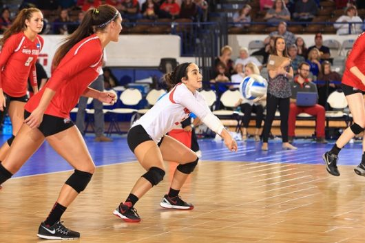 Ohio State's libero Valeria Leon passes a ball in the regional quarterfinal versus Washington on December 11, 2015. Credit: Ohio State Athletics