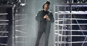The Weeknd on stage during the 2016 Brit Awards at the O2 Arena, London, UK, February 24, 2016. Photo by Matt Crossick/PA Photos/ABACAPRESS.COM