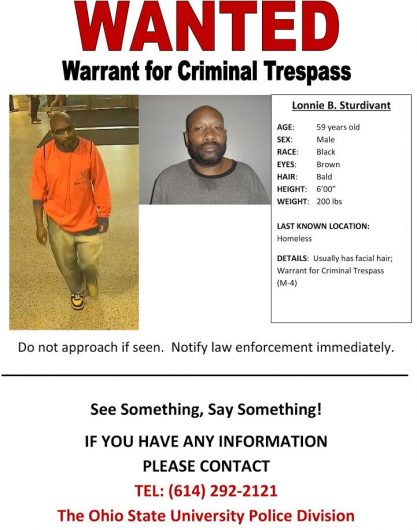 A poster that University Police put out on Sept. 21 lists Lonnie Sturdivant as wanted for criminal trespass. Credit: Courtesy of Ohio State
