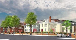 An artist's rendering, looking south on North High Street, shows The View Pavey Square development, which snakes behind historic homes on North High Street. Credit: Courtesy of BBCO Design