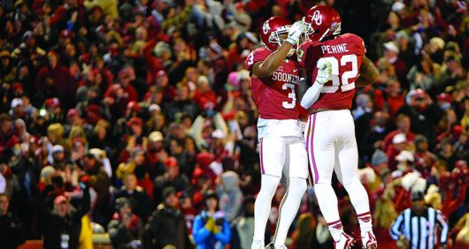 Oklahoma wide receiver Sterling Shepard (3) and running back Samaje Perine (32) celebrate Shepard's first-quarter touchdown against TCU at Oklahoma Memorial Stadium in Norman, Okla., on Saturday, Nov. 21, 2015. (Max Faulkner/Fort Worth Star-Telegram/TNS)