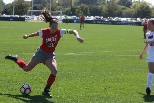 Ohio State senior forward Lindsey Agnew (20) shoots and scores in the second half of a game against the Iowa Hawkeyes at Jesse Owens Memorial Stadium on Sept. 25, 2016. The Buckeyes won the game 3-0. Credit: Colin Hass-Hill | Assistant Sports Director