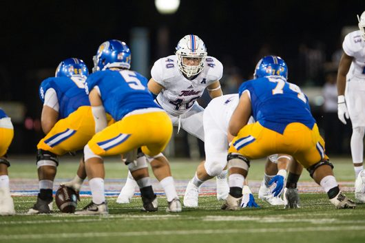 Linebacker Trent Martin of the Tulsa Golden Hurricane lines up during their game against San Jose State on Sept 3. Credit: Courtesy of University of Tulsa Athletics