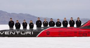 Ohio State's 2016 Venturi Buckeye Bullet 3 team stands next to its record-setting electric vehicle at the Bonneville Salt Flats in Utah. Credit: Center for Automotive Research