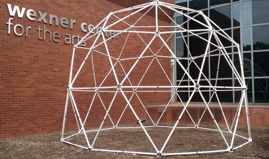 The geodesic dome constructed by OSU students sits outside of the Wexner Center for the Arts. Credit: Kathleen Senge | Lantern Reporter