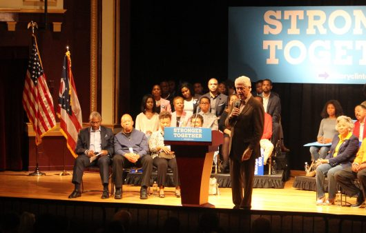 Former President Bill Clinton speaks at the King Arts Complex on Oct. 29 during a vote early rally Columbus. Photo by Owen Dougherty | For The Lantern