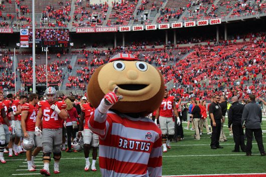 Brutus points into the southern student section after the Buckeyes game against Rutgers on Oct.1. The Buckeyes won 58-0. Credit: Mason Swires | Assistant Photo Editor