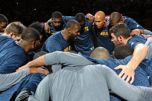 Cavaliers' Small Forward Lebron James (23) gathers his team members for a pep-talk before their preseason game at the Schottenstein Center on Oct. 18. The Cavs lost 96-91. Credit: Mason Swires | Assistant Photo Editor