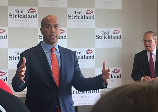 Sen. Cory Booker, a Democrat from New Jersey, campaigned for Ohio Senate candidate Ted Strickland and spoke about the importance of political engagement in the Ohio Union at Ohio State on Oct.26. Credit: Jay Panandiker | Copy Chief