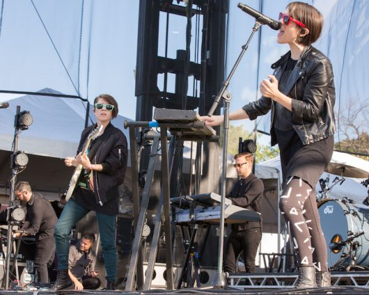 Tegan and Sara perform at Riot Fest in Chicago in 2014. Credit: Courtesy of TNS