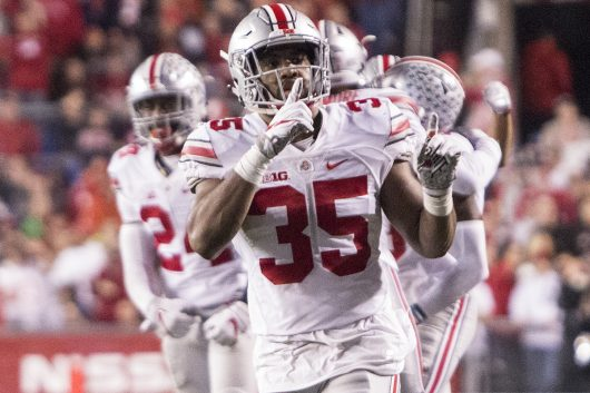 OSU junior linebacker Chris Worley (35) quiets opposing fans after an interception in the first half during the Buckeyes game against the Wisconsin Badgers on Oct. 15. The Buckeyes won 30-23 in overtime. Credit: Alexa Mavrogianis | Photo Editor