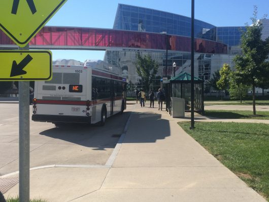 Bus service has resumed at the CABS stop near the RPAC. Service was temporarily suspended after the bomb threat, which was deemed 'not credible' by police. Credit: Nick Roll | Campus Editor