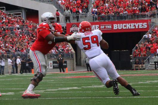 OSU junior offensive lineman Jamarco Jones (74) blocks Rutgers redshirt junior Darnell Davis (59) during the Buckeyes game against the Scarlet Knights on Oct. 1. Credit: Alexa Mavrogianis | Photo Editor