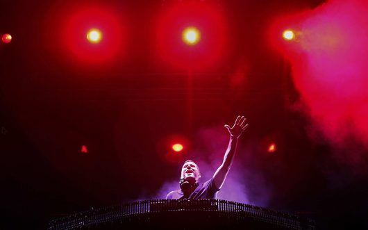 Ryan Raddon, better known as DJ Kaskade, plays to the crowd during the Coachella festival in Indio, California, on April 21, 2012. Kaskade will be playing a sold-out show at Staples Center in Los Angeles. (Jay L. Clendenin/Los Angeles Times/MCT)