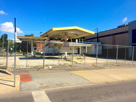 The gas former Shell gas station on the corner of Lane Avenue and North High Street sits empty. Credit: Patrick Wiley   Lantern Reporter