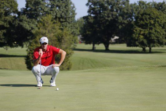 OSU freshman golfer Caden Orweiler stares down a putt in competition for OSU. He was raised in Waldo, Ohio. Credit: Courtesy of OSU Athletics
