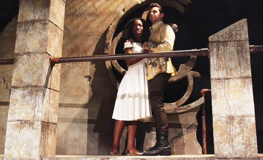 Kahla Tisdale and Joe Kopyt perform as Juliet and Romeo in The Ohio State University Department of Theatre's production of Romeo and Juliet. Credit: Courtesy of Matt Hazard