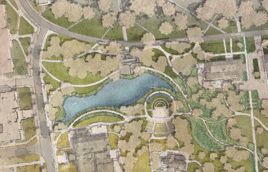 An artistic rendering of what Mirror Lake and the surrounding area might look like once construction is completed. Credit: Courtesy of Ohio State