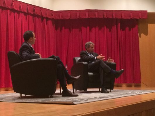 Ohio Sen. Sherrod Brown, a Democrat, speaks on bipartisanship in the Senate with Alan Michaels, dean of Ohio State's Moritz College of Law, on Oct. 18. Credit: Nick Roll | Campus Editor