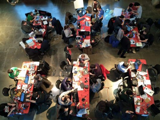 Participants work in teams at the 2015 Hack OHI/O competition. Credit: Courtesy of Hack OHI/O