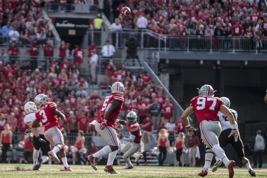 OSU's defense watches a tipped ball that would then be intercepted by redshirt freshman cornerback Damon Arnette (3) during the first half of the Buckeyes game against Northwestern on Oct. 29. The Buckeyes won 24-20. Credit: Alexa Mavrogianis   Photo Editor