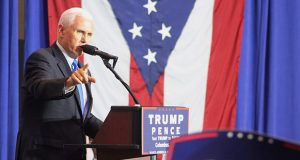 Mike Pence speaks at a rally at the Greater Columbus Convention Center on Oct. 17. Credit: Mitch Hooper | Engagement Editor