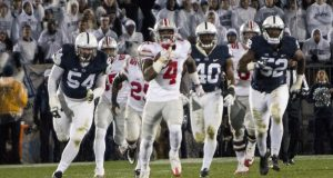OSU junior H-back Curtis Samuel (4) runs for a touchdown during the second half of the Buckeyes game against Penn State on Oct. 22. The Buckeyes lost 24-21. Credit: Alexa Mavrogianis | Photo Editor
