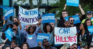 Rally attendees show their support for Hillary Clinton through signs. Credit: Alexa Mavrogianis | Photo Editor