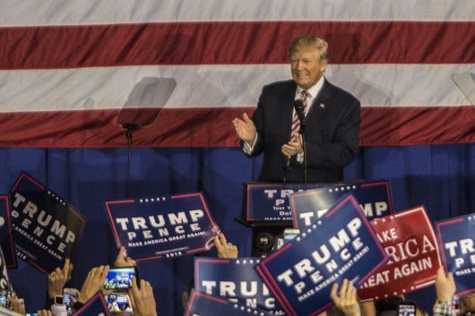 Donald Trump greats supporters during a rally in Delaware, Ohio on Oct. 20. Credit: Alexa Mavrogianis   Photo Editor