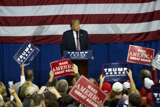 Donald Trump addresses the crowd at the Delaware County Fairgrounds on Oct. 20. Credit: Alexa Mavrogianis | Photo Editor