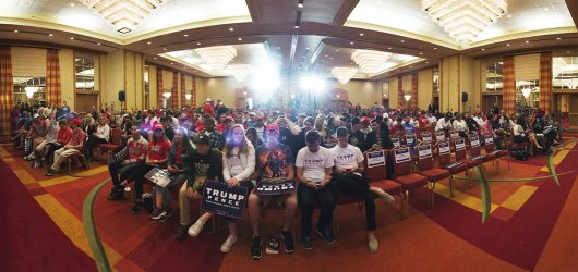 Donald Trump supporters await his arrival during a Columbus event on Oct. 13. Credit: Judy Won | For The Lantern