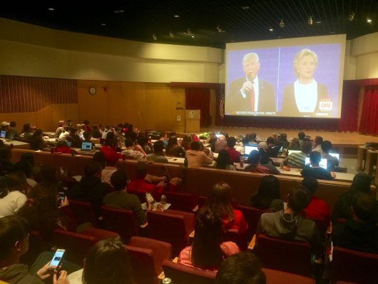 Students gather for a debate watch party held at Ohio State's Moritz College of Law. Credit: Abby Vesoulis | Lantern Reporter